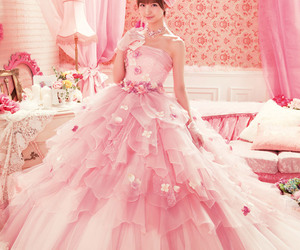 pink, girl, and wedding image