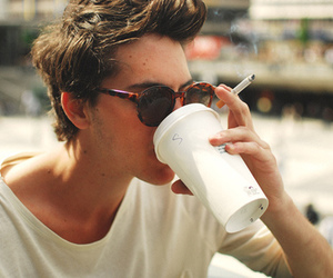 boy, coffee, and cigarette image