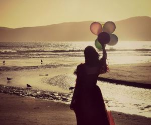 balloons, beach, and beautiful image