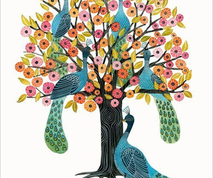 birds, peacock, and tree image