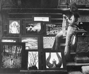 black and white, old, and paintings image