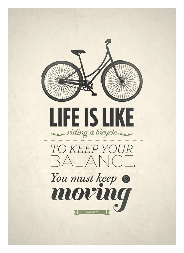 Poster Quotes About Life Brilliant Print & Poster  Life Is Like Riding A Bicycle  Designspiration