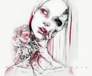 art, black&white, and blood image