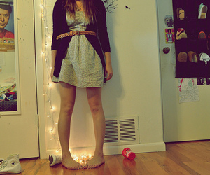 girl, shoes, and lights image