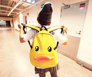 backpack, duck, and girl image