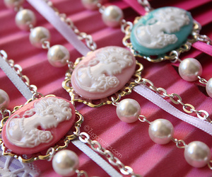 cameo, pearls, and pink image