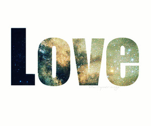 galaxy, typography, and love image
