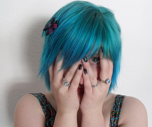 blue hair, girl, and dyed hair image