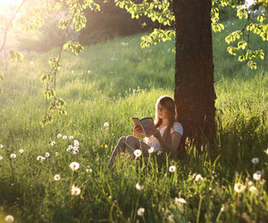 girl, tree, and meadow image