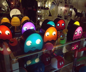 pacman, light, and colorful image