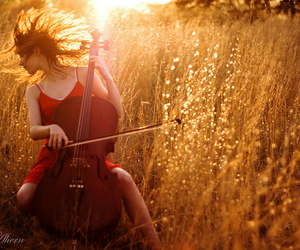 girl, beautiful, and cello image