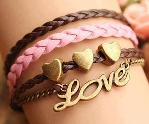 bracelets, pink, and love image