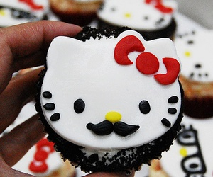cupcake, hello kitty, and mustache image