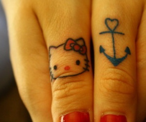 tattoo, anchor, and hello kitty image