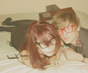 couple, boy, and glasses image
