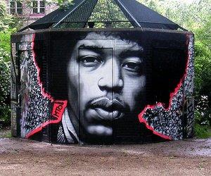 art, grafitti, and Jimi Hendrix image