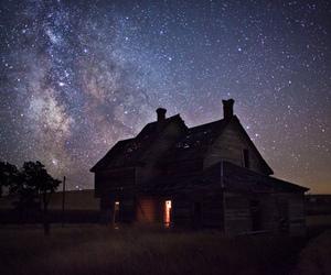 stars, house, and night image