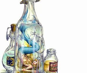 mermaid, bottle, and anime image