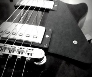 gibson, white, and guitar image