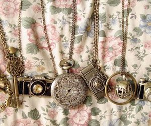 cameras, floral, and necklaces image