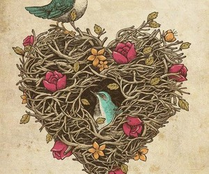 bird, heart, and art image