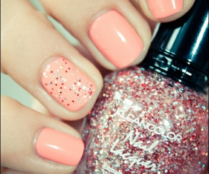 nails, coral, and glitter image