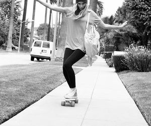 black and white, girl, and skate image