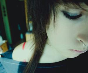 brunette, girl, and nose image