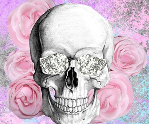skull, rose, and pink image
