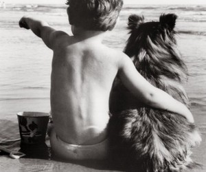 boy, dog, and friends image