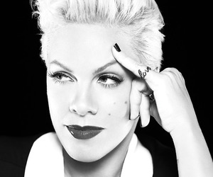 pink, P!nk, and black and white image