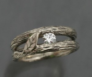 ring, diamond, and leaves image