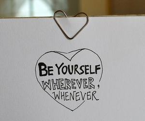heart, text, and be yourself image