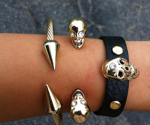 skull, bracelet, and gold image