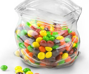 glass, skittles, and ziplock bag image