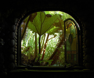 window, garden, and grotto image