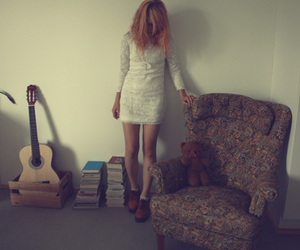 dress, guitar, and teddy bear image