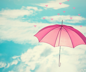 umbrella, pink, and sky image