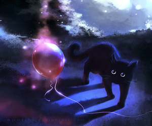 cat, balloons, and black image