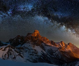 milky way, winter, and mountains image