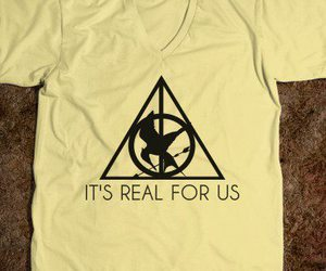 harry potter, the hunger games, and t-shirt image