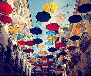 umbrella, colors, and sky image