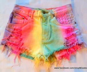 rainbow, fashion, and shorts image
