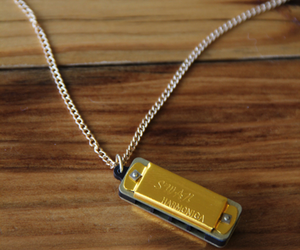 harmonica necklace, tumbleroot, and gold harmonica necklace image