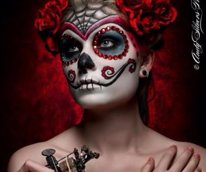 muerte, sugar skull, and tattoo image