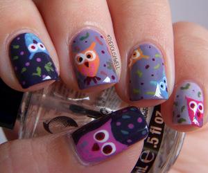 nail art, nails, and owl image