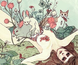 cat, flowers, and bunny image