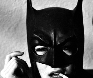 batman, cigarette, and black and white image