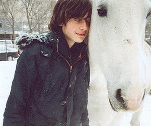 horse, snow, and boy image