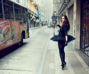 girl, bus, and street image